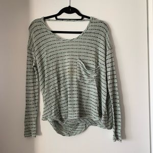 Free People Striped Open Back Sweater